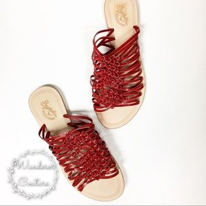 Seychelles Flat Strappy Red Leather Sandals